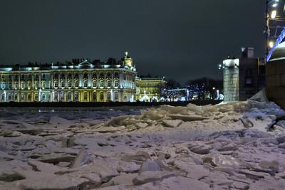 лед на Неве Нева лед Эрмитаж