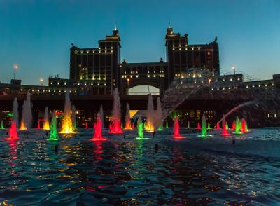 Поздним вечером в Нур-Султане Казахстан Астана нур-Султан ночь
