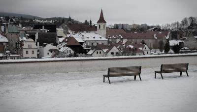 *** Чешский Крумлов, скамейки, крыши