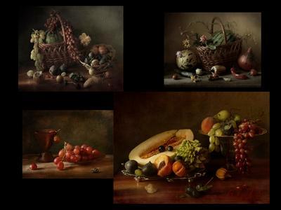 По волне моей памяти(из архива)..Завтрак с фруктами и виноградом натюрморт фрукты сентябрь панно архив