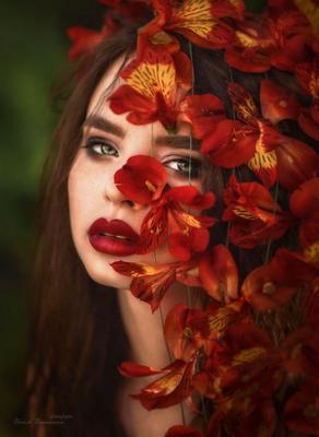 и слышится как шепчет альстромерия альстромерия портрет красный алые губы страсть платок взгляд