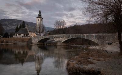 Вечер в Словении словения пейзаж церковь зимний