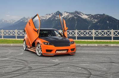 Mazda RX-8 Mazda, RX-8, ораньжевая, ламбо-двери, тюнинг