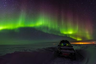 Однажды в тундре... Россия Воркута Северное сияние Русский север тундра зима снег оff-road 4x4 Land Rover Discovery 3