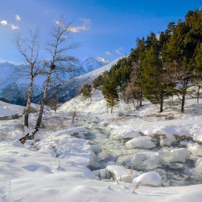 Зимние прогулки по реке Терскол (4) Приэльбрусье река Терскол зима