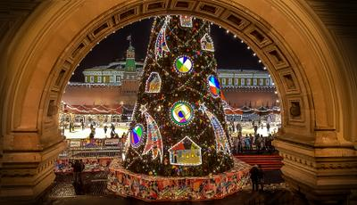 Окно ГУМа Москва Новый год зима город ночь