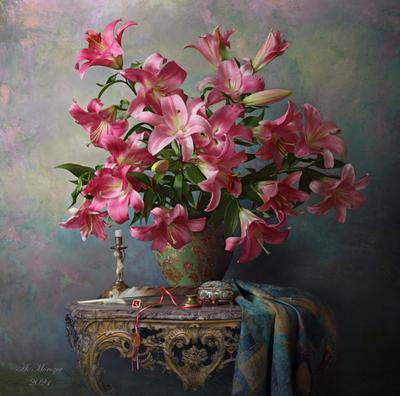 Натюрморт с лилиями цветы лилии букет антик