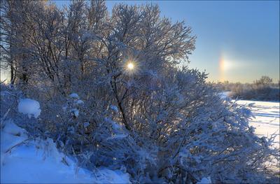 Немного радуги в январе зима январь гало Ухта Коми 22.01.2021