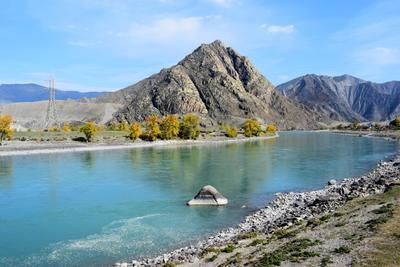 Камень Горный Алтай пейзаж реки Катунь nataly-teplyakov