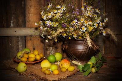 Желтые сливы желтые сливы яблоки груши букет полевых цветов