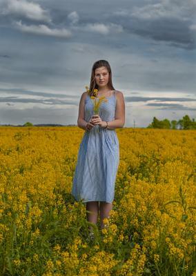 Рапс девушка лето портрет природа