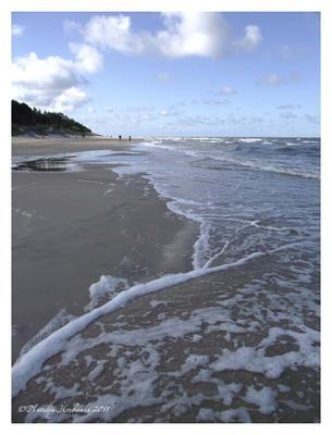 Утренний прибой море, Паланга, Литва, прибой