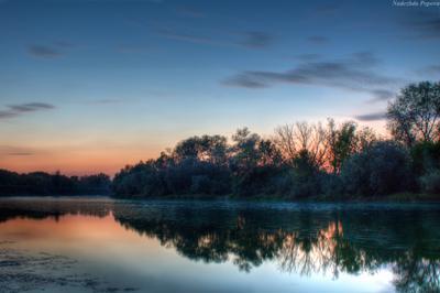 Вечерние краски река Воронеж вечер закат осень небо отражение