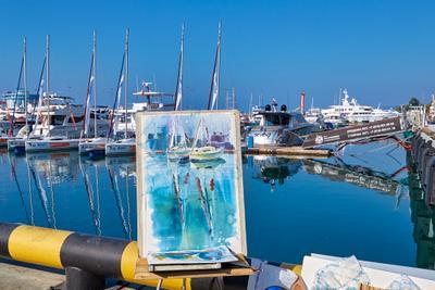 Акварели и реалии Россия Сочи Черное море морской порт причал яхты картина художника осень день