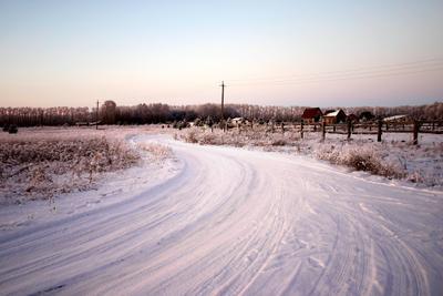 Зимний посёлок Ордынский район НСО зима вечер закат