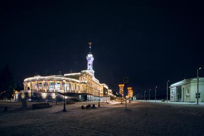 Северный речной вокзал ночью Северный речной вокзал Москва ночь архитектура зима новогоднее освещение Канал им.Москвы Moscow architecture night winter lights