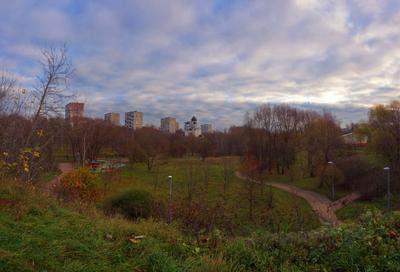 Осеннее утро в городском парке