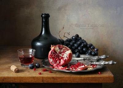 Гранат и вино гранат виноград вино бутылка