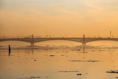 про Невский лед... санкт петербург петроград ленинград нева река рассвет россия троицкий мост