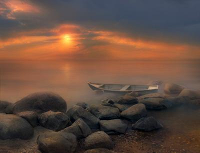 Закат закат лодка кострома
