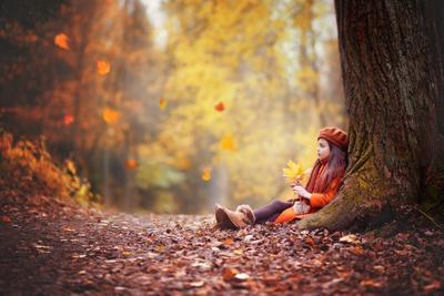 Мечты осень парк девочка листья