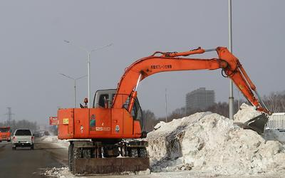 Уборка снега циклон снег зима Сахалин техно