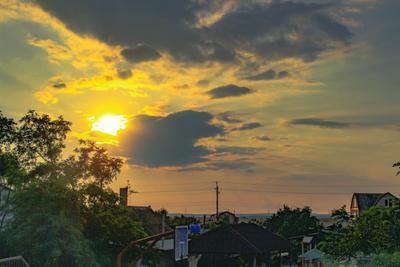 ***Над крышами домов закат камыш солнце краматорск белосарайская коса