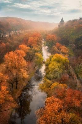 речка Смотрич каньон река Смотрич Каменец-Подольский осень Украина старый город мост