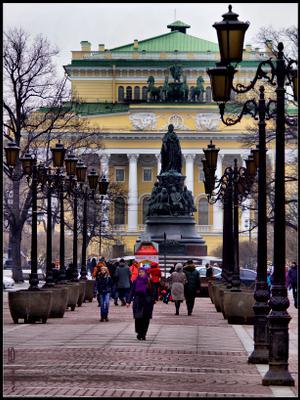 Малая Садовая Санкт-Петербург Малая Садовая улица Александринский театр фонари пешеходная зона зима