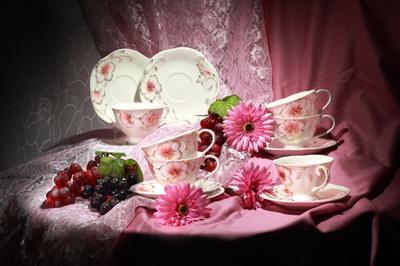 Столовый сервиз цветы посуда виноград