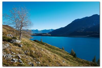 Альпы, осень Альпы, осень, озеро, плотина, горы