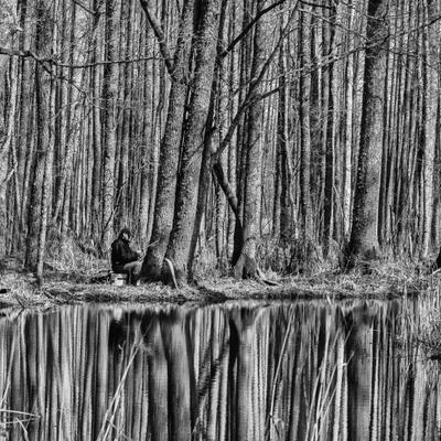 * Рыбак лес вода отражение