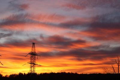 Волны небесные облака, перистые облака, закат, оранжевый, желтый, лиловый