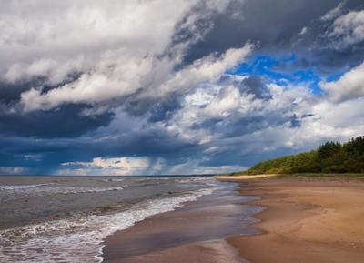 *** море берег тучи осень Финский залив
