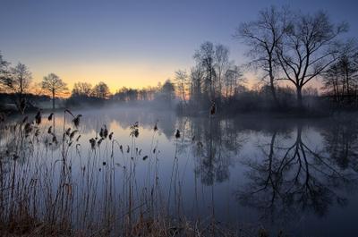 Мартовское утро утро туман рассвет озеро пейзаж