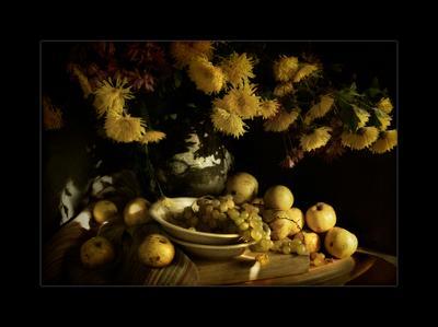 Теплая осень осень тепло цветы яблоки