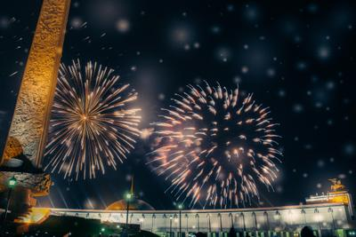 ***Winter fireworks fireworks winter snowflakes city sky stellar Moscow holy day dark blue