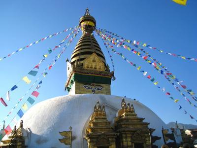Ступа Сваямбунатх в Катманду. Непал вулкан кратер горы скалы