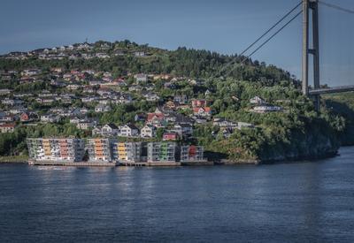 Пригород Бергена Норвегия Берген