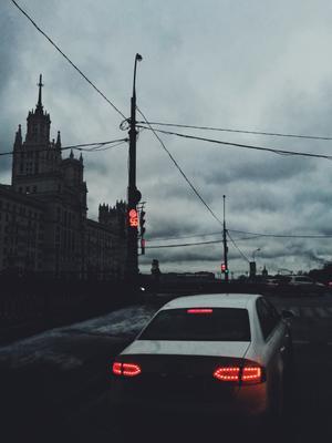 Светофор Город Москва декабрь небо