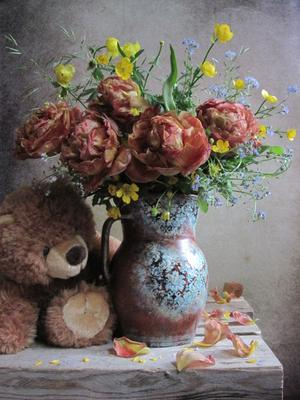 *** цветы букет тюльпаны лютики незабудки наталия тихомирова celesta