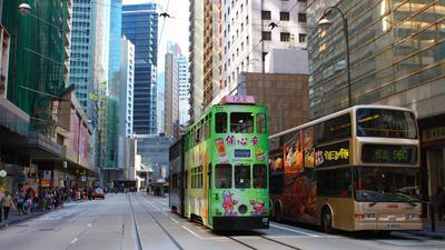 Гонконг Гонконг Трамвай Небоскребы