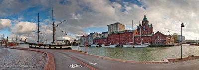 ПАНОРАМА Хельсинки. Набережная 3. финляндия хельсинки набережная порт яхты церковь