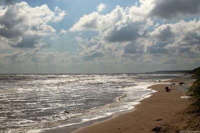 На Азовском море лето отдых море солнце тучи волны