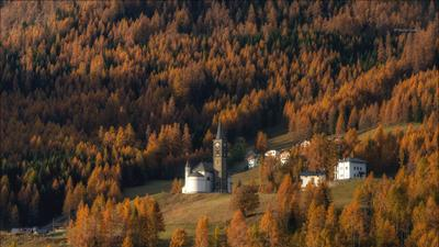 Оранжевая долина autumn осень village деревня alps альпы dolomites доломиты selva di cadore италия