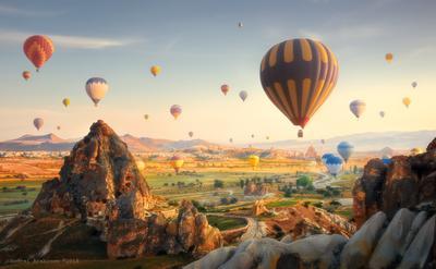 Утренняя Cappadocia. cappadocia air ballons scenic landscape turkey