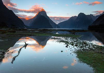 Milford Silence New Zealand Milford sound Fjordland sunrise Mitre peak