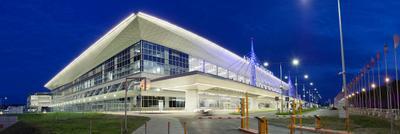 Аэропорт Красноярск город Красноярск Сибирь универсиада аэропорт огни прогулка