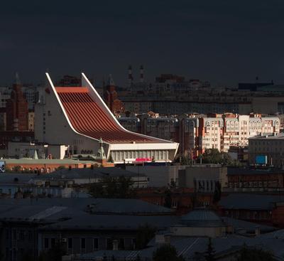 Трамплин Омск город архитектура провинция Россия регион совмод соцмод советский фасад