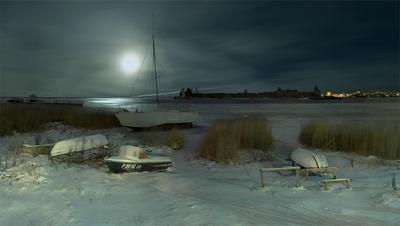 Ночь на Неве Луна полнолуние зима ночь река
